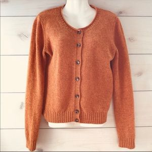Benetton Orange Wool Button Up Cardigan Sweater